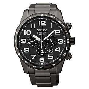 Seiko Men's Solar Ion Plated Black Chronograph Watch - Product number 2602164