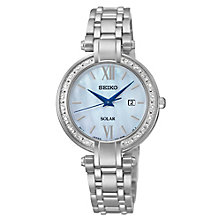 Seiko Ladies' Solar Mother of Pearl Stainless Steel Watch - Product number 2602199