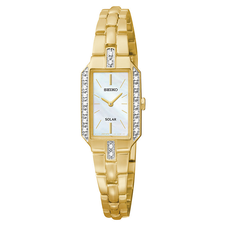 Seiko Ladies' Solar Yellow Gold Plate Mother of Pearl Watch - Product number 2602202
