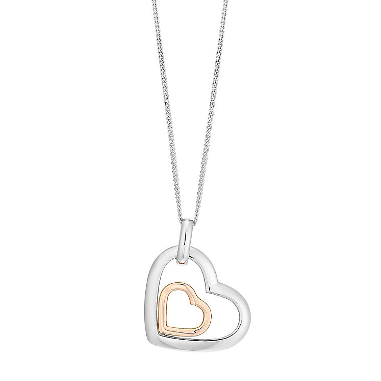 Silver and 9ct rose gold heart pendant - Product number 2602431