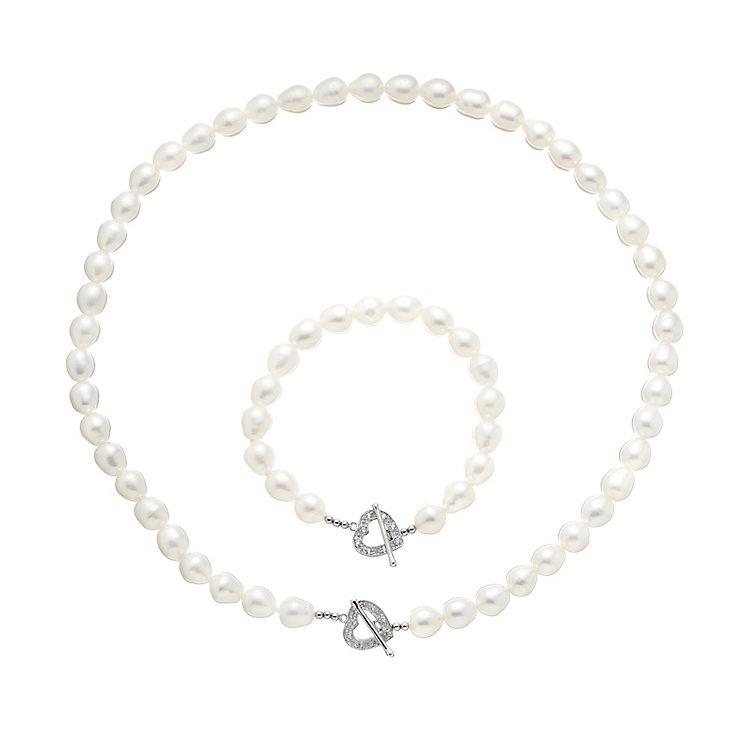 Pearl & Crystal Heart Detail T-Bar Necklace & Bracelet Set - Product number 2604779