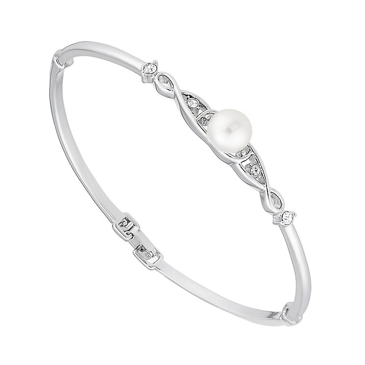 Pearl And Crystal Set Crossover Hinged Bangle - Product number 2604787