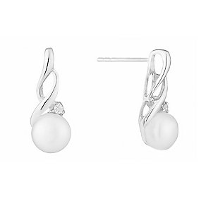 Sterling Silver Pearl & Cubic Zirconia Twist Stud Earrings - Product number 2604825