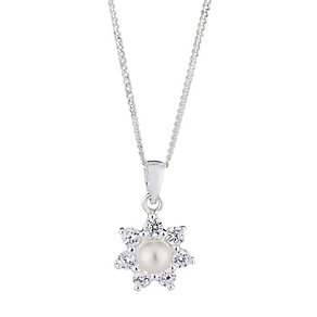 Sterling Silver Pearl & Cubic Zirconia Flower Pendant - Product number 2604841