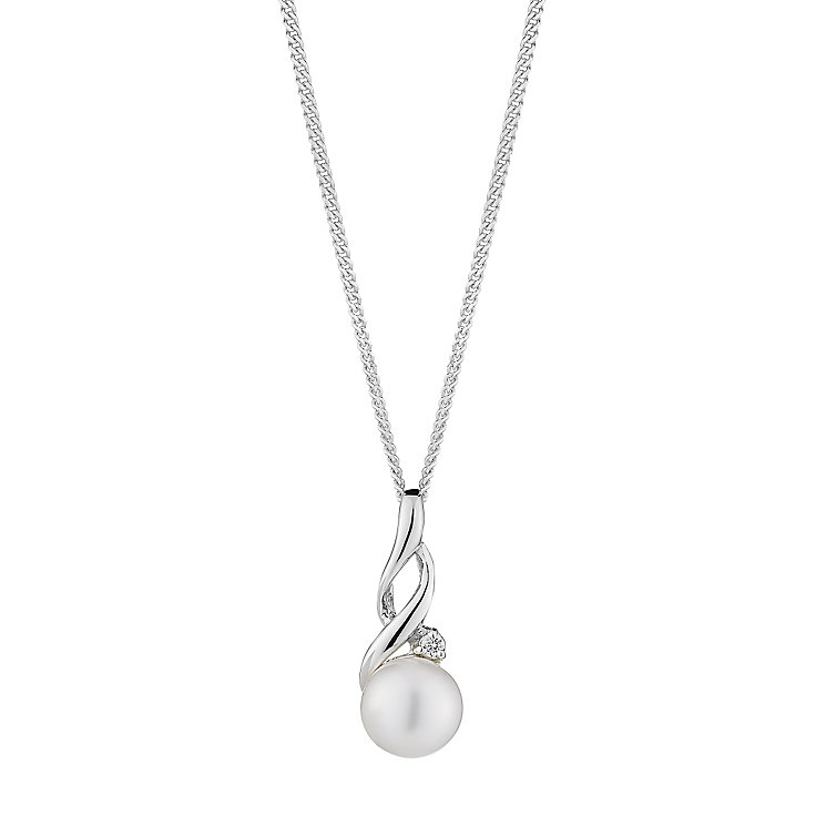 Sterling Silver Pearl & Cubic Zirconia Twist Pendant - Product number 2604965