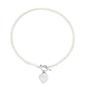 Sterling Silver Pearl T-Bar Necklace With Heart Charm - Product number 2605007