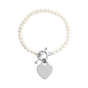 Sterling Silver & Pearl T-Bar Bracelet With Heart Charm - Product number 2605015