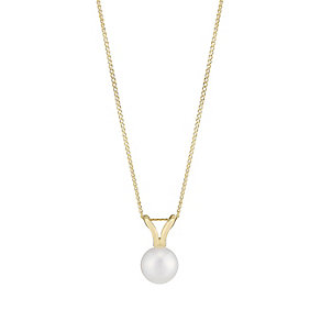 9ct Yellow Gold 7mm Pearl Pendant - Product number 2605112