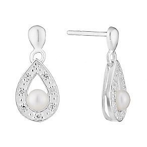 Silver Pearl & Cubic Zirconia Pear Shaped Stud Earrings - Product number 2605155