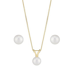 9ct Yellow Gold Round Pearl Earring & Pendant Set - Product number 2605244
