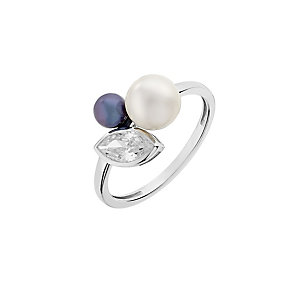 9ct White Gold Cubic Zirconia & Black & White Pearl Ring - Product number 2605309