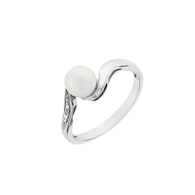 Sterling Silver Diamond & Pearl Twist Ring - Product number 2605597