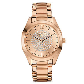 Caravelle New York Ladies' Rose Gold Tone Crystal Set Watch - Product number 2605732