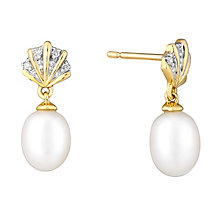9ct Yellow Gold Pearl And Diamond Fan Drop Earrings - Product number 2605813
