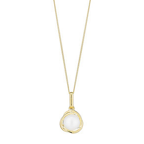 9ct Yellow Gold & Pearl Knot Design Drop Pendant - Product number 2605856