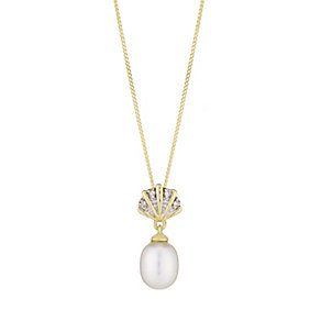 9ct Yellow Gold Pearl And Diamond Fan Drop Pendant - Product number 2605864