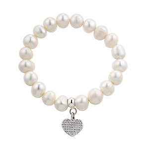 Freshwater Pearl & Cubic Zirconia Heart Charm Bracelet - Product number 2605929