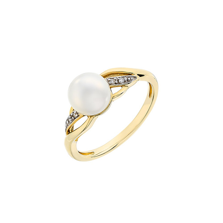 9ct Yellow Gold Pearl & Cubic Zirconia Twist Ring - Product number 2605988
