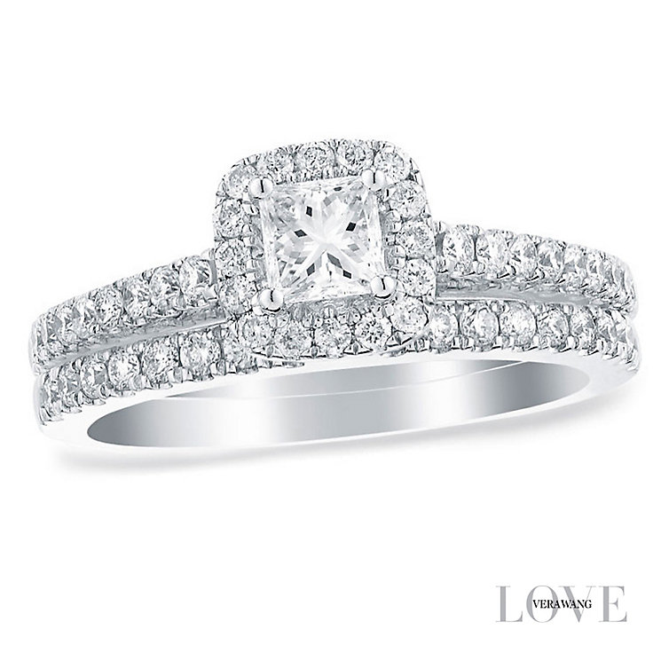 Vera Wang 18ct white gold 0.95CT halo bridal set - Product number 2606127