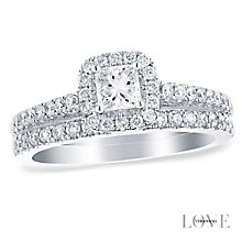 Vera Wang 18ct white gold 0.95CT halo bridal set - Product number 2606127