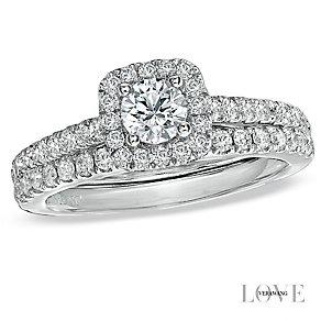 Vera Wang 18ct white gold 95pt diamond halo bridal set - Product number 2606259