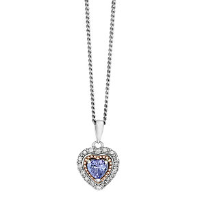 Silver & 9ct Rose Gold Tanzanite & Diamond Heart Pendant - Product number 2607778