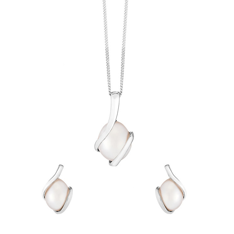 9ct White Gold & Pearl Knot Design Earring & Pendant Set - Product number 2607794