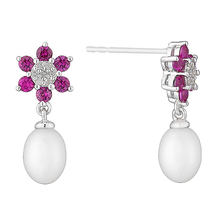9ct White Gold Pearl, Diamond & Created Ruby Flower Earrings - Product number 2609460