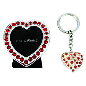 Red Stone Set Heart Shaped Photo Frame & Keyring Set - Product number 2609789