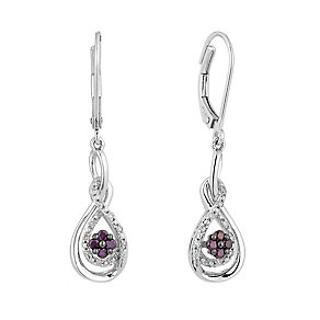 Silver 0.25ct treated purple & white diamond drop earrings - Product number 2610132