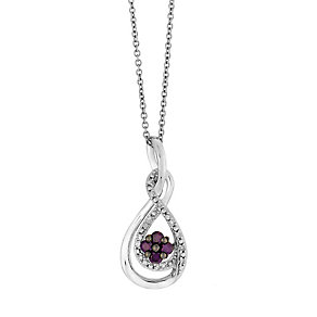 Silver 0.25ct treated purple & white diamond pendant - Product number 2610140