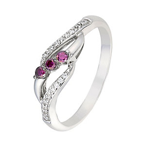 Silver 0.15ct treated purple & white diamond ring - Product number 2610183