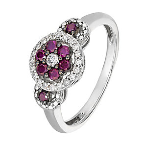 Silver 0.38ct treated purple & white diamond ring - Product number 2610310