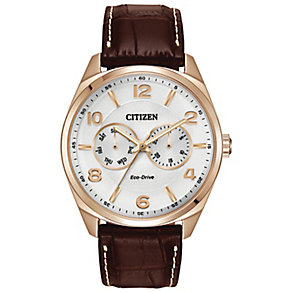 Citizen Eco-Drive Men's Rose Gold-Plated Leather Strap Watch - Product number 2612127