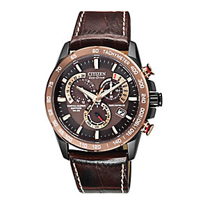 Citizen men's chronograph brown leather strap watch - Product number 2612135