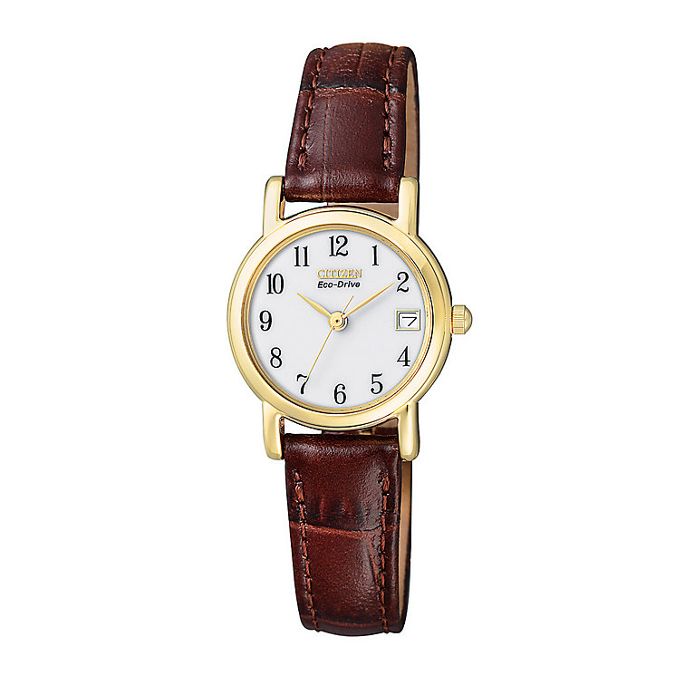 Citizen Eco Drive Ladies' Brown Leather Strap Watch - Product number 2612232