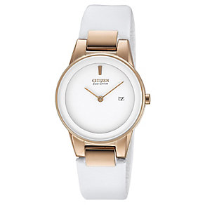 Citizen ladies' white leather strap watch - Product number 2612275