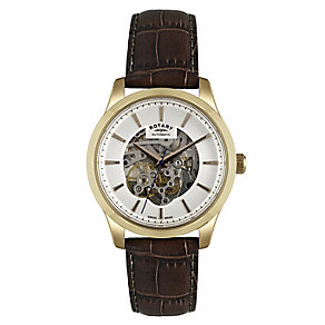 Rotary men's skeleton dial brown leather strap watch - Product number 2612550