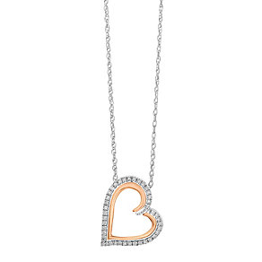 Silver and 9ct rose gold 0.25 carat diamond heart pendant - Product number 2612801