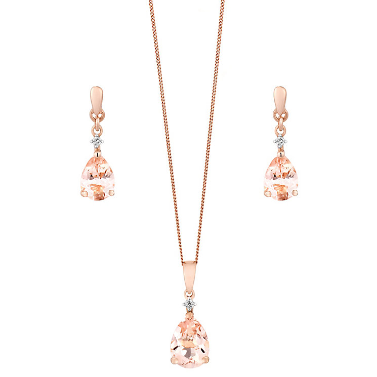 9ct rose gold, morganite earrings and pendant set. - Product number 2612860