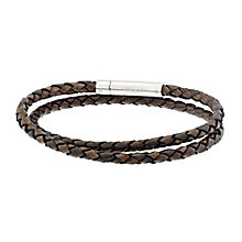 Men's Unique stainless steel brown leather bracelet - Product number 2614308