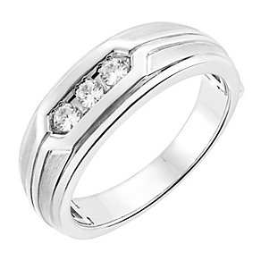 Men's 9ct white gold 1/4ct diamond ring - Product number 2615428
