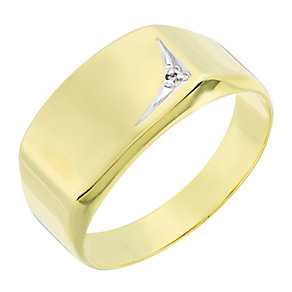 Men's 9ct yellow gold diamond ring - Product number 2616998