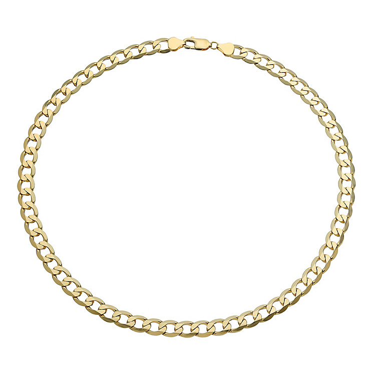 Men's 9ct yellow gold curb necklace - Product number 2617129
