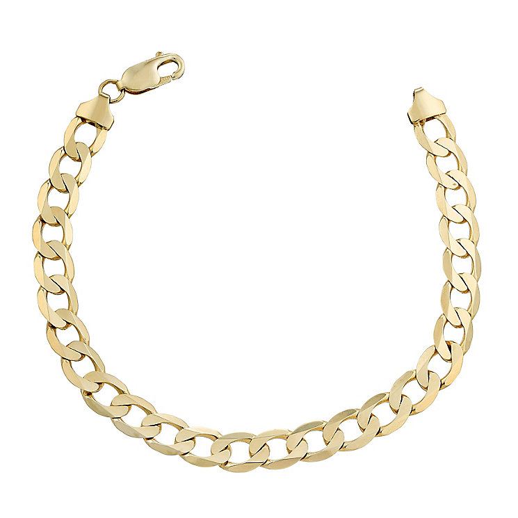 Men's 9ct yellow gold curb bracelet - Product number 2617137