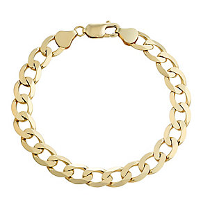 Men's 9ct yellow gold curb bracelet - Product number 2617242