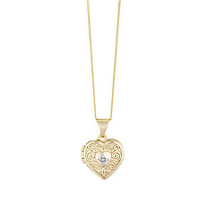 9ct Yellow Gold Heart Shaped Engraved Diamond Locket - Product number 2617285