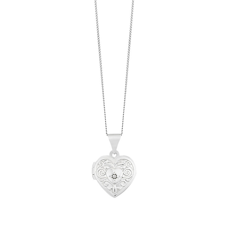 9ct White Gold Heart Shaped Engraved Diamond Locket - Product number 2617307
