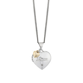 Silver & 9ct Gold Heart Diamond Set Mother's Day Locket - Product number 2617315