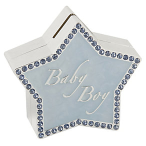 Silver Plated Blue Star Baby Boy Stone Set Money Bank - Product number 2617943
